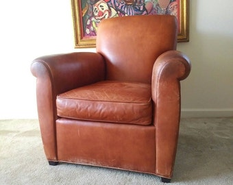 Coach Leather Club Chair By Baker Furniture