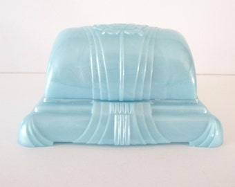 Vintage Art Deco Blue Cellulid Ring Box Holder Plastic Display Box