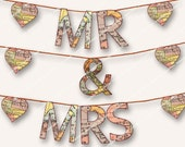 Mr & Mrs MAP ALPHA LETTER wedding bunting 6.5in letters printable birthday  party banner complete alphabet  Magentabelle download 153