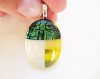 Handmade OOAK Glass Pendant Layered Yellow and Green