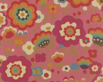 Flying Colors by Momo for Moda - Modern Flower Power - Pink - Strawberry - Fat Quarter FQ Cotton Quilt Fabric 516