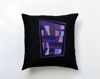 Purple Abstract Pillow, Purple Modern Pillow, Quilted Pillow Cover,  Modern Pillow, Purple And Black Pillow, 18 x 18, Throw Pillow