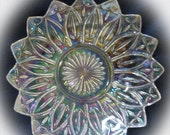 20% Heart Sale Vintage Iridescent Federal Flower Petal-Iridized Carnival Round Pressed Glass Bowl
