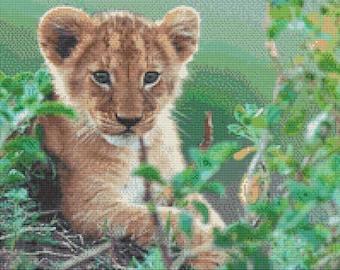 Lion Cub Cross Stitch Pattern Animal Series Design Instant Download PdF