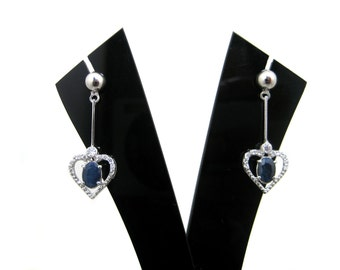 Beautiful Heart Earring with Blue Sapphire Gemstone White Rhodium Plated 925 Sterling Silver Earring & Cz Ear Jewelry wedding Gift for her