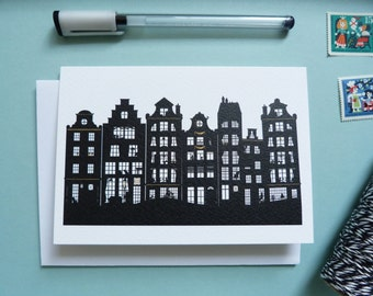 The Canal Houses of Amsterdam Illustration, Black White & Gold Silhouette Greeting Card Design, Souvenir notecard, blank inside all occasion