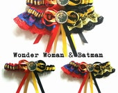 Batman and Wonder Woman half n half Satin/Satin and Lace Garter/Garter Set
