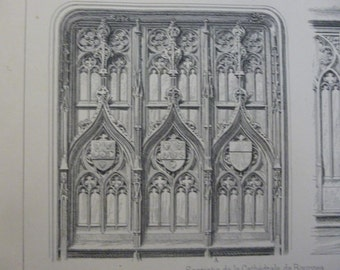 Antique Print, Architecture and Sculpture, Gothic Wood Carving, Salesperson's Portfolio Page, French, Circa 1890