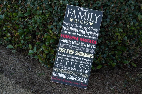 Disney Family Rules Wood Sign, We Do Disney, Movie Quotes, Inspirational, Handpainted