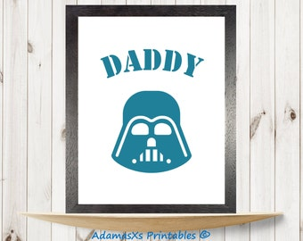 Star wars printable, Darth vader printable, Blue prints, Gifts for dad, Gifts for him, Minimal star wars nursery, Bedroom poster, Wall art