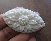 Double drill Carved Flower ,bone beads, Buffalo  Bone Carving, Jewelry making Supplies  S3332