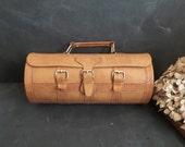 Vintage leather handbag . Drum Barrel Purse