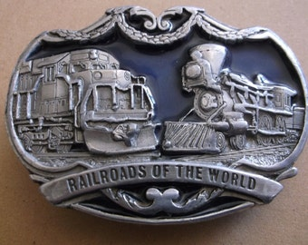 "Vintage 1970's ""Railroads Of The World"" Belt Buckle"