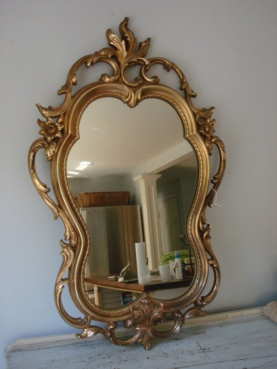 Large vintage mirror baroque style mirror ornate gold for Plastic baroque mirror