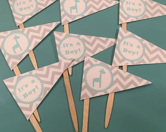 """PREPPY GIRAFFE  Happy Birthday or Baby Shower Pennant Cupcake Toppers """"It's a Boy"""" - Aqua Grey-  Party Packs Available"""