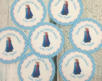 FROZEN INSPIRED Theme Happy Birthday or Baby Shower Party Favor Tags or Stickers 12 {One Dozen} Green Blue - Party Packs Available