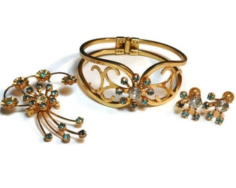 Bugbee and Niles parure, 1940s aqua and clear rhinestone necklace, earrings and brooch pendant combo set, in original presentation box