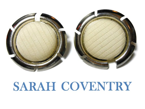 Sarah Coventry earrings 1961 Color Frame silver tone round