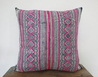 Vintage Batik Hmong Pillow Cover-Vintage hemp,Textile, Natural Indigo Batik, Tribal, Indigo- Hmong Accent Pillow - Tribal Decor