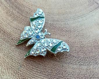 Vintage Butterfly Brooch Czech Enamel Pin Bug Brooch Signed Czechoslovakia 1920s Art Deco Jewelry
