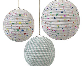 Set of 3 Paper Globe Charms and Stripes Party Decorations