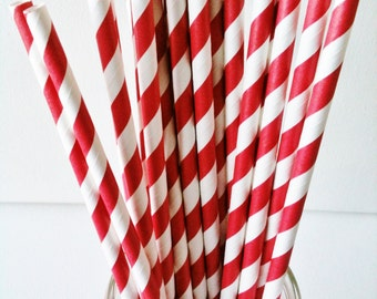 set of 20 paper straws, stripes red