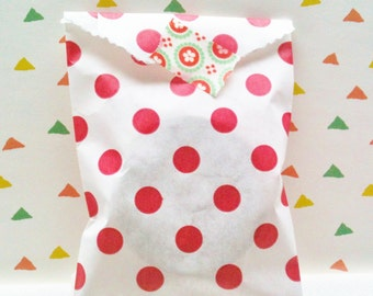 Set of 20 Favor Bags, polka dots in red