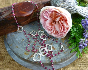 PRECIOUS RUBIES hand wired long silver ruby Sundance style necklace