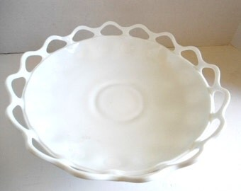 Milk Glass Pedestal Fresh Veggie and Fruit Bowl circa 1950s for Morning Smoothies Counter Top Display Serving Entertaining Home Decor Dining