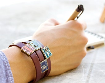 Men's leather bracelet - Wrap bracelet - gift for computer geek - circuit board jewelry - customizable color - unisex bracelet