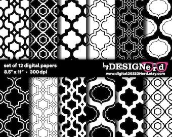 "Digital Scrapbook Paper - Black & White Collection (8.5"" x 11"")"