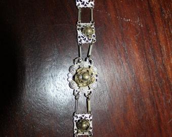 1930's Sterling & Filigree 3D Flower Link Bracelet