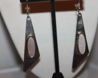 60's Mod Sterling & Mother of Pearl Drop/Dangle Earrings