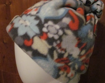 Owl/Floral Print Fleece Hat w/Fringed Puff