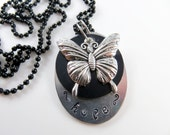 Hand stamped hope butterfly necklace