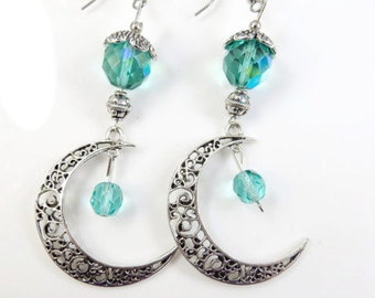 Filigree moon earrings