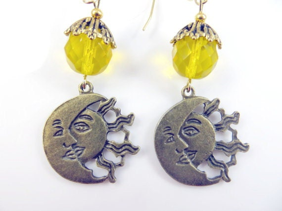 sun and moon earrings by jewelryandmorebykat on etsy