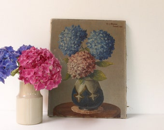 "French Artwork, Oil on Canvas 13"" x 10"".. Hydrangeas....signed and dated 1938."