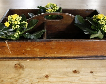 English Antique Wooden Cutlery Carrier.....Beautiful....Downton Abbey....Faded Grandeur....English Country Home