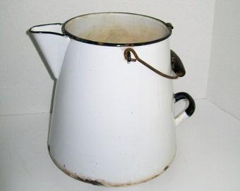 Vintage Enamel Coffee Pot Large Farmhouse Pot White Black Trim Rusty Wood Handle Garden Planter Pot