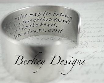 Best Friend Gift / To My Soul Sister, We are Never Far Apart Secret MessageHand Stamped Bracelet- Personalized Bracelet