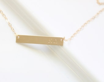 KAPPA DELTA Sorority Bar Necklace- Official Licensed Designer -  Hand stamped Sorority/Greek Jewelry