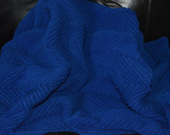 Large Crocheted Ripple Afghan in ROYAL Blue
