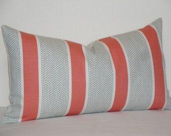 Duralee - Tilton Fenwick Decorative Pillow Cover - Coral and Mint - Stripe Pillow - Accent Pillow - Chair Pillow