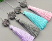 Druzy Tassel Necklace - Choose Your Color Silk Tassel - Sterling Silver Long Tassel Necklace - Trendy Necklace - Layering Necklace