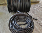 4MM Round Leather Cord Natural Dark  Brown Lace  Almost Black 2 Yds Fexible Soft
