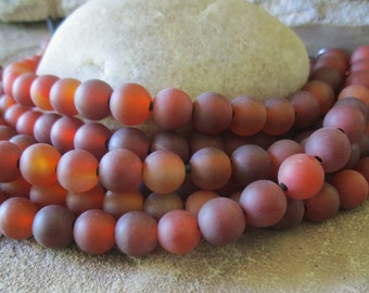 """Round Large Hole Bead 10 MM Red Agate Carnelian Matte gemstone 7.5"""" Fit Leather"""