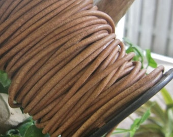 Rustic Charm 3MM Round Leather Cord Natural 5 Yards