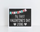 My first Valentine's Day, baby's first, chalkboard sign, photo prop, instant download