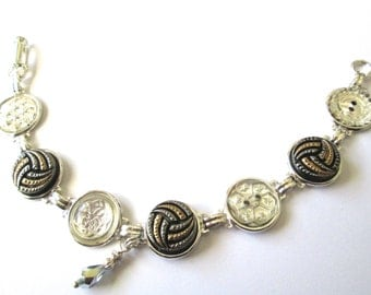 VOLLEYBALL vintage button bracelet. Silver gold two-tone, all glass buttons
